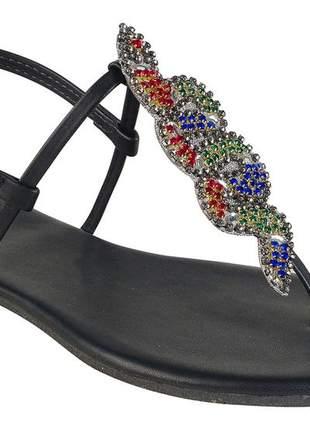 Sandália flat napa preta com cobra coral mercedita shoes