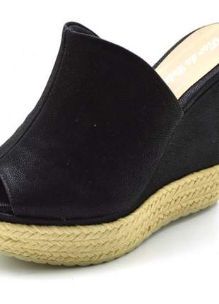 Sandália anabela tamanco  salto alto  preto com corda
