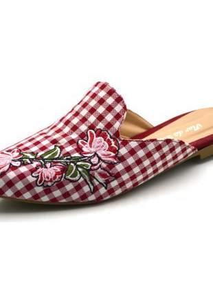 Mule sapatilha feminina bico fino xadrez vermelho
