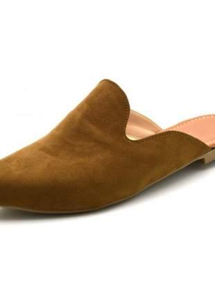 Mule sapatilha feminina bico fino em nobucado chocolate