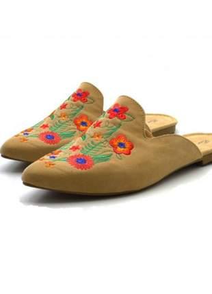 Mule sapatilha feminina bico fino nude bordado flor