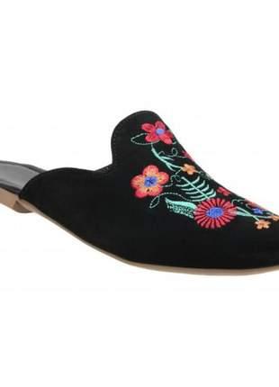 Mule sapatilha feminina bico fino preto bordado flor