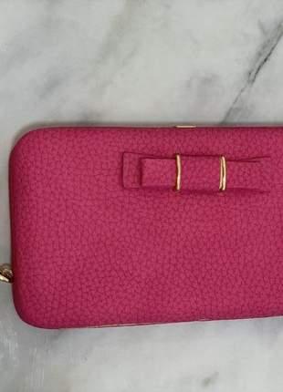 Carteira paris rosa pink - com porta celular