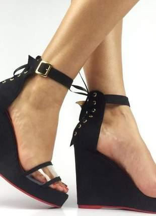 Sandália anabela salto alto