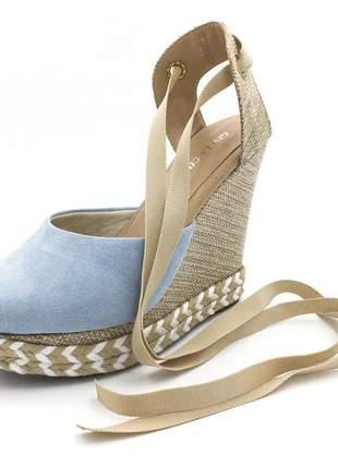 Sandalia anabela azul claro salto plataforma corda amarrar