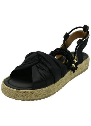 Sandália de amarrar cetim preto distinta