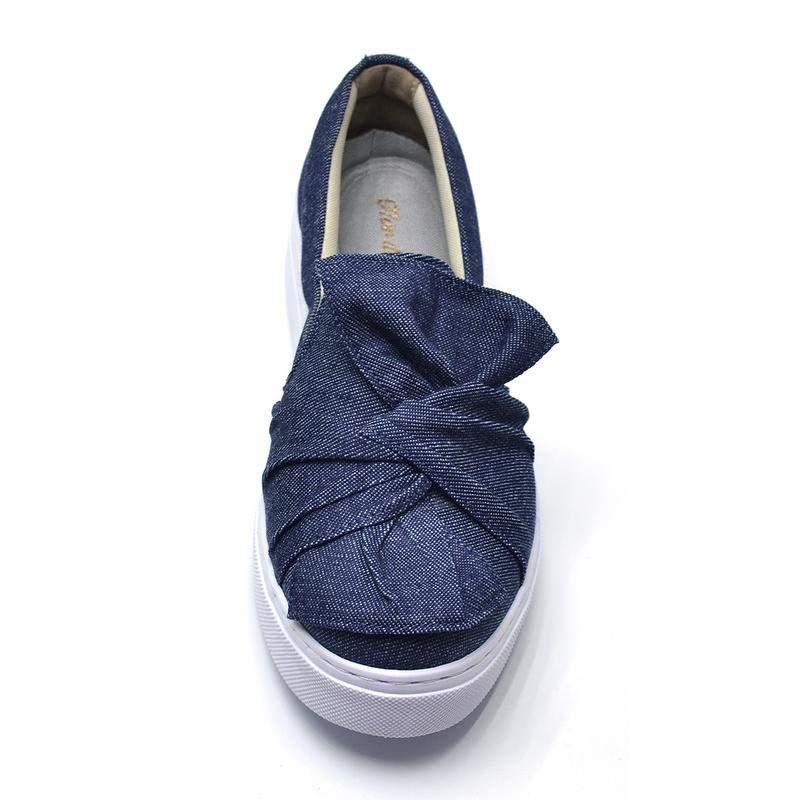8e00870c6 Tênis casual feminino slip on laço jeans - R$ 99.90 (sapatilha ...