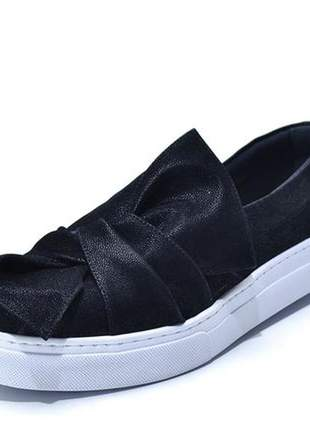 Tênis casual slip on laço nobucado preto
