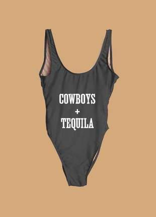 Maiô com frase cowboys + tequila