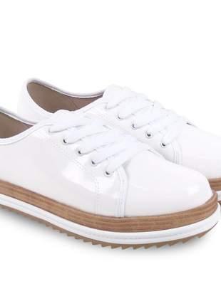 Sapato feminino casual oxford beira rio verniz premium branco 4196.203