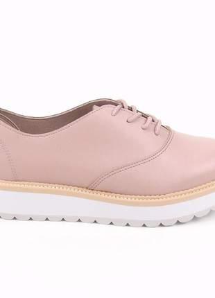 Tênis feminino casual plataforma tratorado sapatênis sapato oxford flatform rosa
