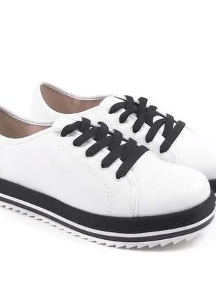 Sapato feminino casual oxford beira rio napa branco/preto 4196.303