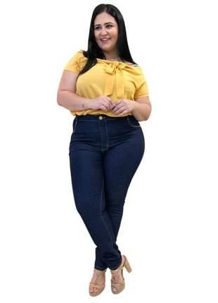 Calça jeans plus size feminina cintura alta lycra gordinhas