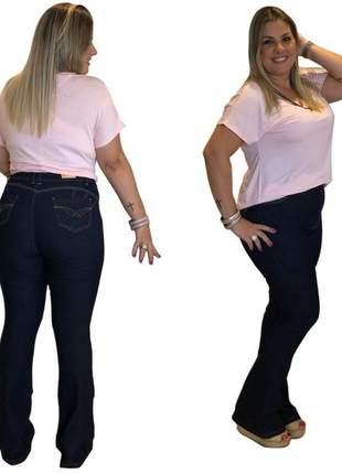 Calça jeans feminina plus size flare amaciada com lycra