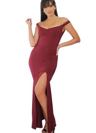 Vestido feminino longo alça fina com fenda