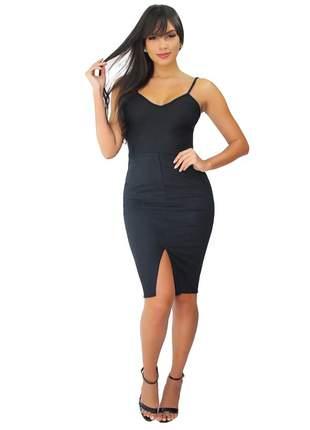 Vestido feminino tubinho com alcinha com fenda frontal