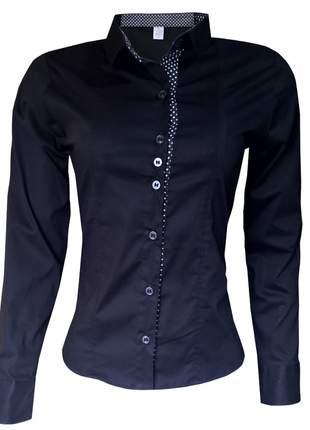 Camisa social feminina manga longa preta