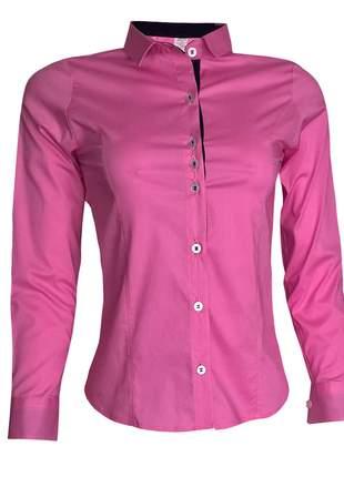Camisa social feminina manga longa rosa
