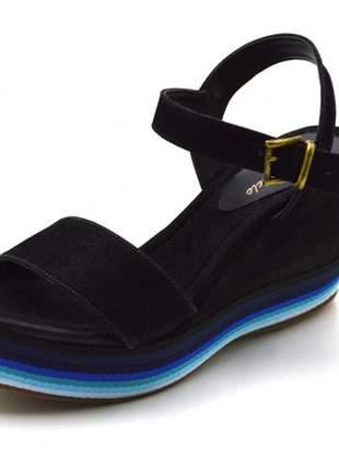 Sandália anabela salto médio em nobucado preto com fachet color
