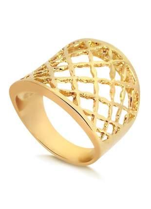 Anel vazado sofisticado folheado a ouro 18 k