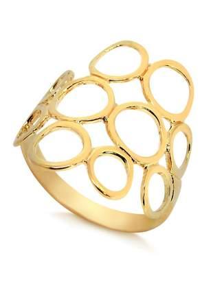 Anel círculos vazados folheado a ouro 18 k
