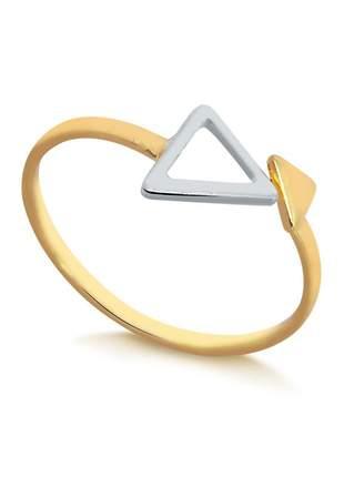 Anel falange geométrico folheado a ouro 18 k e prata