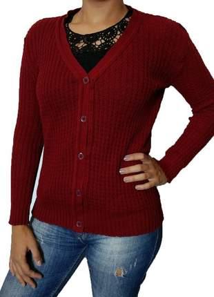 Cardigan feminino de tricô lã com botão casaquinho