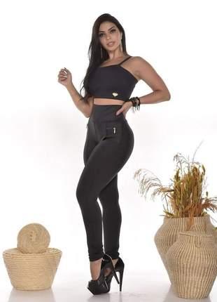 Calça skinny feminina de suplex alta compressão grossinha a