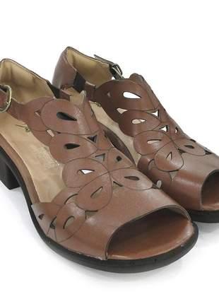 Sandalia couro maxicomfort dalí shoes salto grosso caramelo feminina