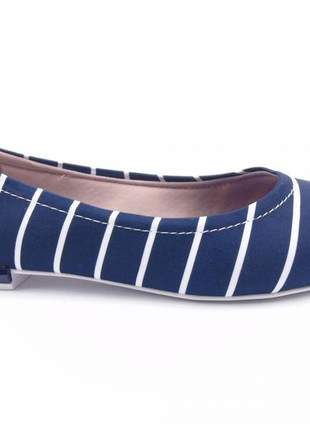 Sapatilha moleca rasteira listrada marinho rasteirinha sapato social baixo