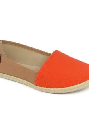 Sapatilha feminina rasteira moleca confortável moda nobuck marrom/laranja