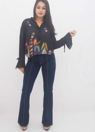 Calça jeans flare sawary