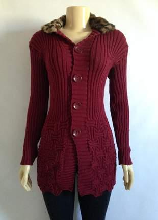 Sobretudo tricot trico gola de onça