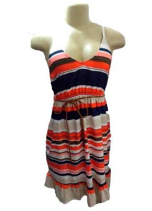 Vestido feminino rodado com alça fina listrado laranja