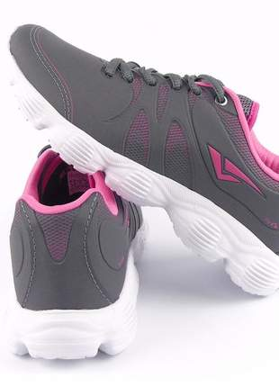 Tenis feminino barato academia passeio cinza/rosa