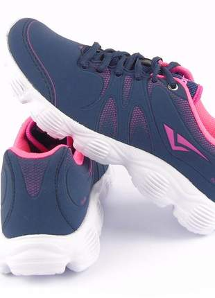 Tenis feminino barato esportivo academia caminhada corrida treino passeio marinho/rosa