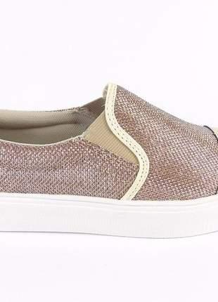 Tenis plataforma feminino casual confortável flatfom slip on moda sapatilha