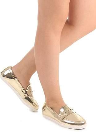 Tênis vizzano casual feminino sapatênis promoção sapatilha rasteira dourada