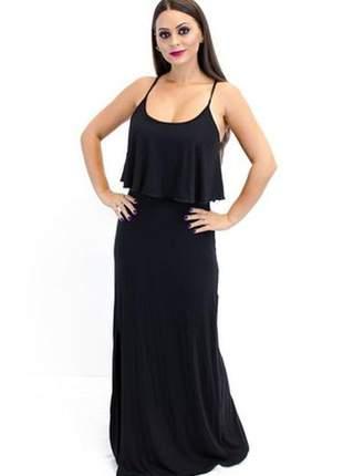 Vestido longo com babado e fenda preto