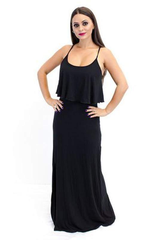 Vestido Longo Com Babado E Fenda Preto R 5800 Shafa O Melhor Da Moda Feminina