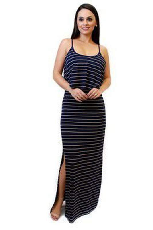 3ac64f7e46 Vestido longo listrado com babado e fenda azul marinho - R  69.99 ...
