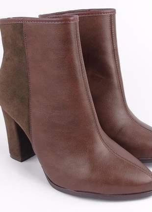 Bota marrom feminina cano baixo curto preta beira rio ankle boot