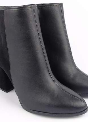 Bota preta feminina cano baixo curto preta beira rio ankle boot