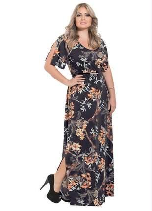 Vestido plus size longo floral dark