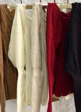 Blusa em tricô ciganinha modelo super despojado