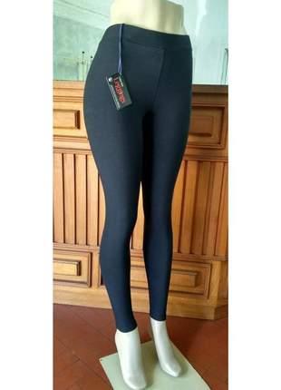 Legging preta de cotton cintura alta com elástico no cós