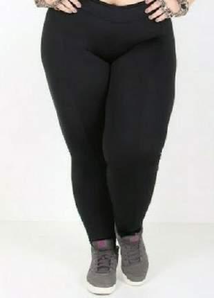 Legging plus size de cotton cintura alta com elástico no cós