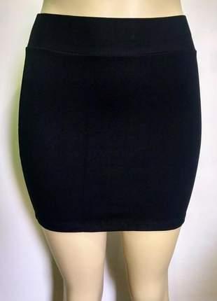 Mini saia preta de cotton com elástico no cós