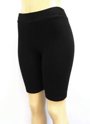 Bermuda feminina de cotton cintura alta com elástico no cós