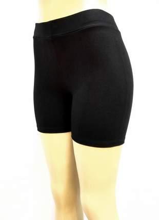 Shorts curto preto de cotton cintura alta com elástico no cós
